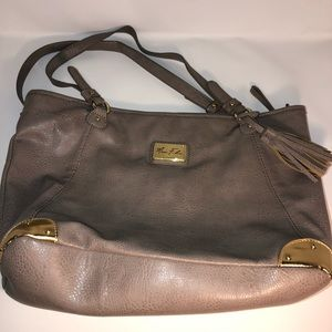Marc Fisher Tassel Gray Leather Tote